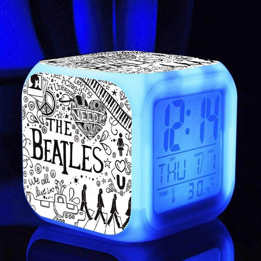 7 Colors Multi-function Temperature Colorful LED Digital Cute Alarm Clock Cube Glowing in the Dark Kids Rock Band Toy