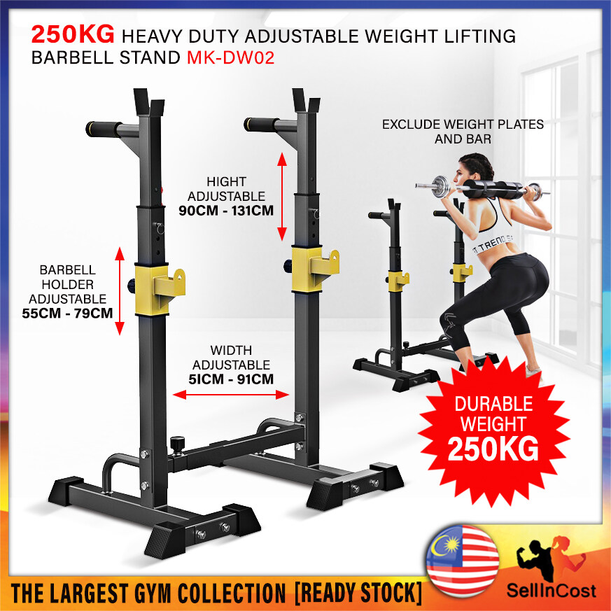 SellinCost Gym Barbell Stand 250kg Squat Rack Adjustable Barbell Stand Weight Lifting Bench Press With Safety Hook Spotter Barbell Rack Dumbbell Rack Home Gym Station Alat Angkat Berat MK-DW02