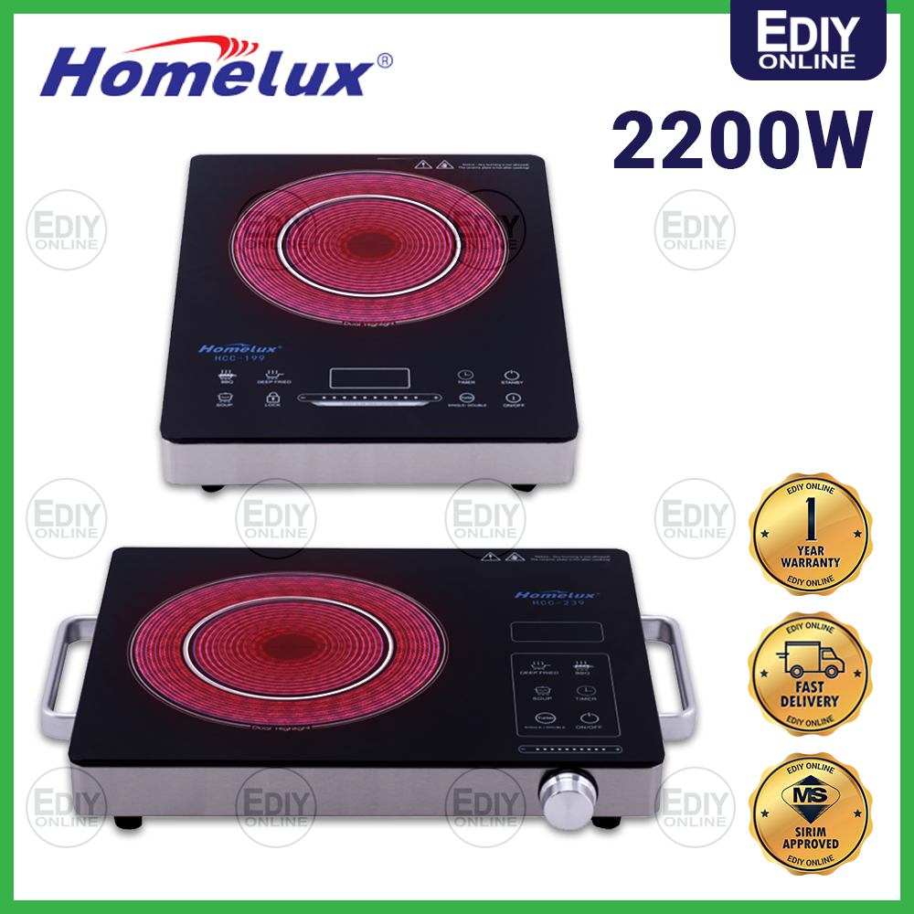 Homelux HCC-199 / HCC-239 Electrical Ceramic Infrared Cooker for All Pot type 2200W DAPUR ELEKTRIK 红外线 炉 【EXTRA BOX + BUBBLE PACK】