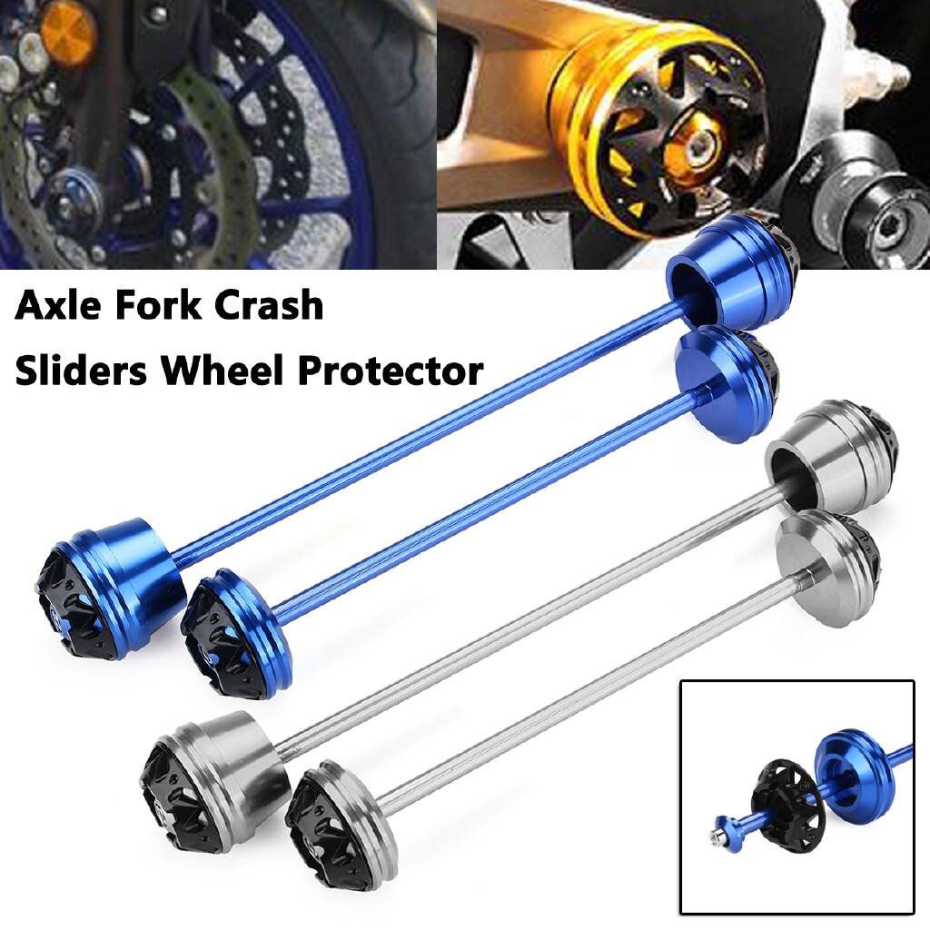 Moto Accessories - Motorcycle Front Rear Axle Fork Crash Sliders Wheel Protector Guard for YAMAHA - GREY / BLUE