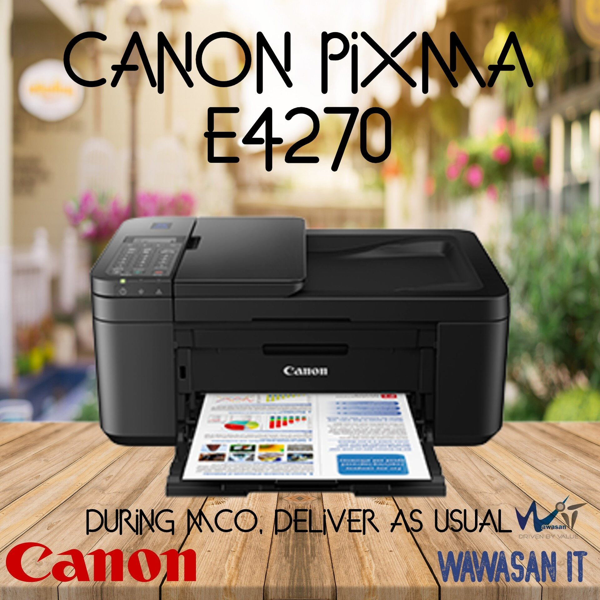 Canon Pixma E4270 All-in-One Print Scan Copy Wifi ,Duplex, Document Feeder with Fax,  similar model Canon E410, Canon E4270, Canon E3370,HP 2135, HP 2676, Canon MG3070s , Canon MG2577s, Canon G2010, Canon G3010