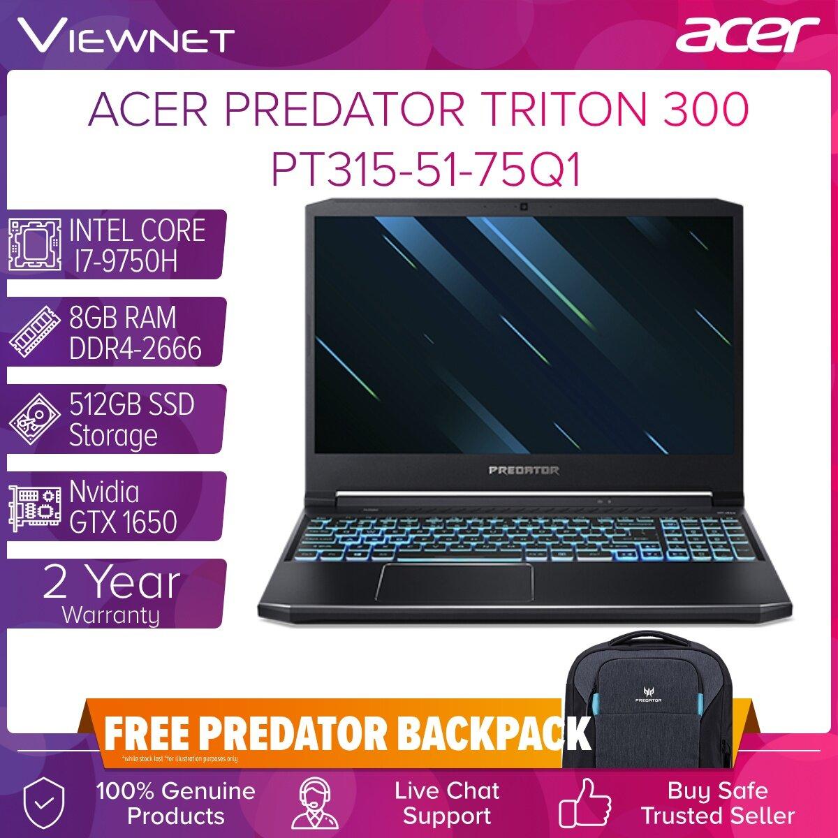 Acer Triton 300 PT315-51-75Q1 Intel Core i7-9750H, 8GB DDR4, 512GB PCIe NVMe SSD, Nvidia GTX 1650 4GB GDDR5, 15.6