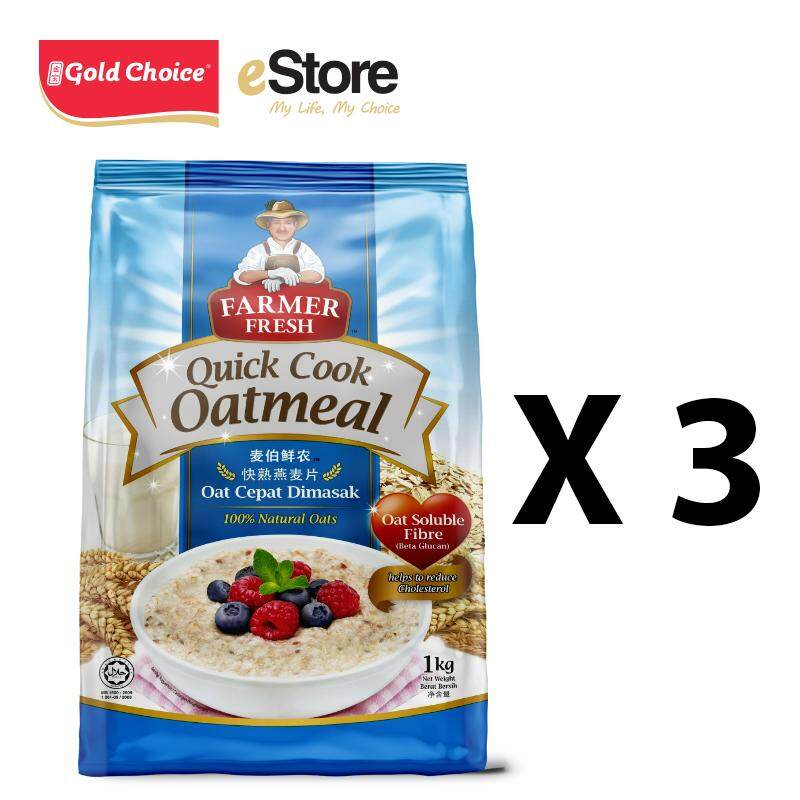 FARMER FRESH Oatmeal Quick Cook - 1kg X 3 Packs [Oat]