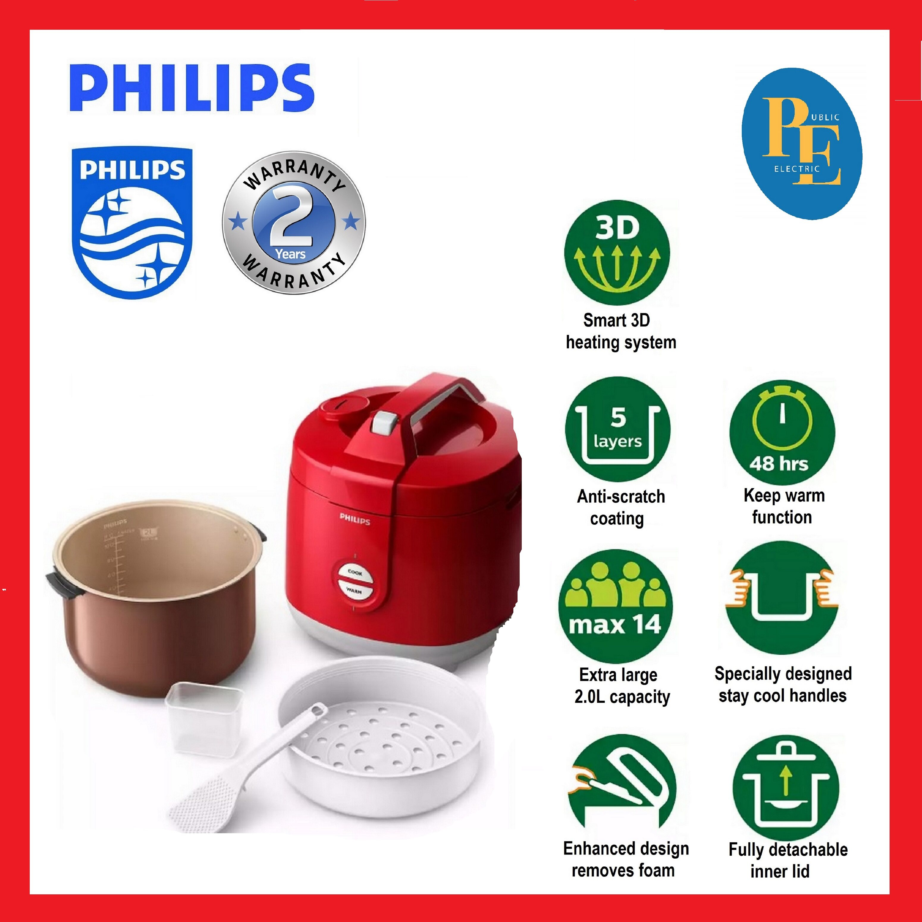 Philips Daily Collection Jar Rice Cooker 2 Litre - HD3129