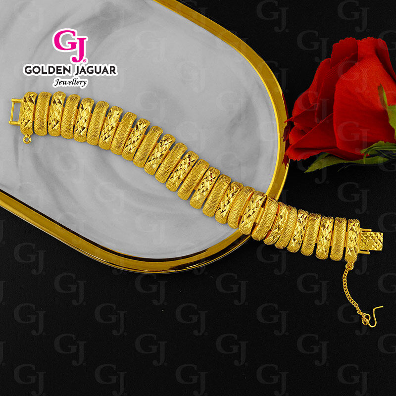 NEW - GJ Jewellery Emas Bangkok Bracelet Pulut Dakap - Caterpillar Pasir Kikir (BKK-2062003)