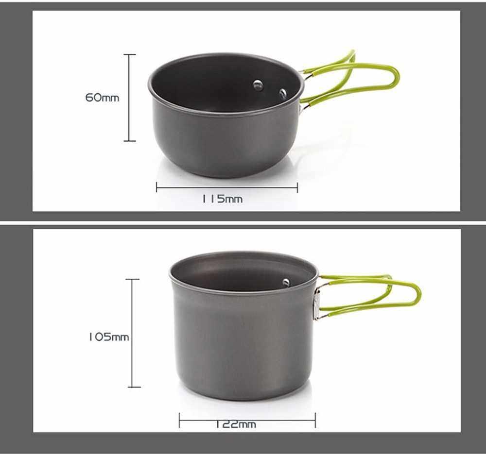 Best Selling Ultralight Portable Camping Outdoor Pot Pan Set Hiking Picnic Backpack Tableware Cookware Kit Cooking Bowl Pot Pan Mini Gas Stove Hot Pot Stockpot Set (Standard)