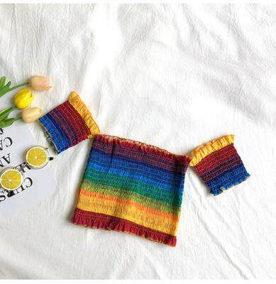 (PRE ORDDER) KOREAN RAINBOW STRIPES PLEATED TUBE TOP