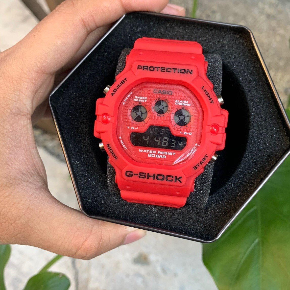 MEN'S WATCH DIGITAL RED RUBBER STRAP DUAL TONE EDITION