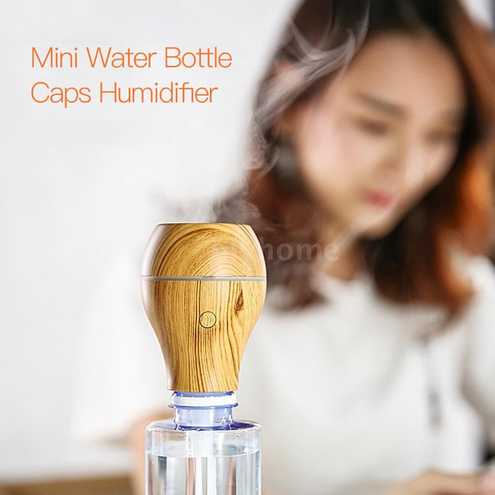 Humidifiers & Air Purifiers - PORTABLE MINI Air Humidifier Water Bottle Caps Humidifier Mist Maker for Car Home Office - PINK / BLUE / LIGHT WOOD GRAIN / BROWN WOOD GRAIN