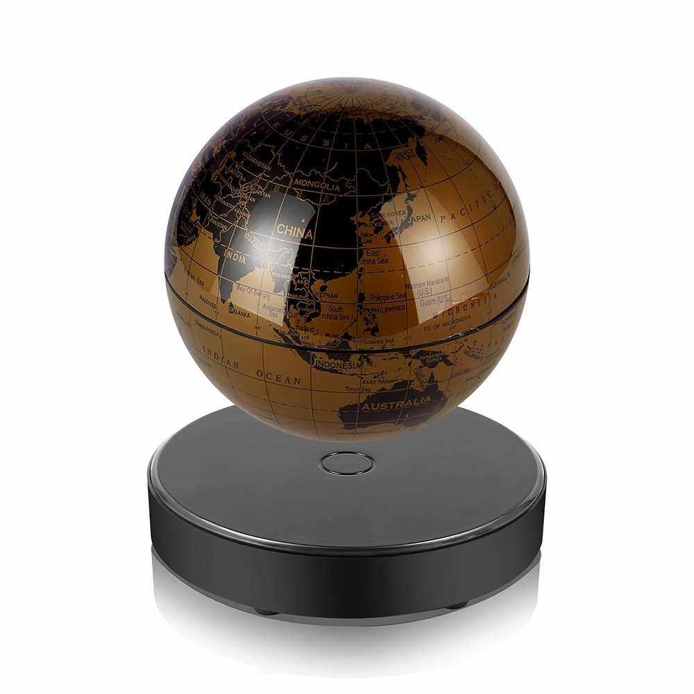 Magnetic Levitating World Map Globe with LED Light Base Anti-Gravity Floating Rotating 6 Inch Globe Earth Ball for Home Office Desk Decoration Students Educational Gift (Gold)