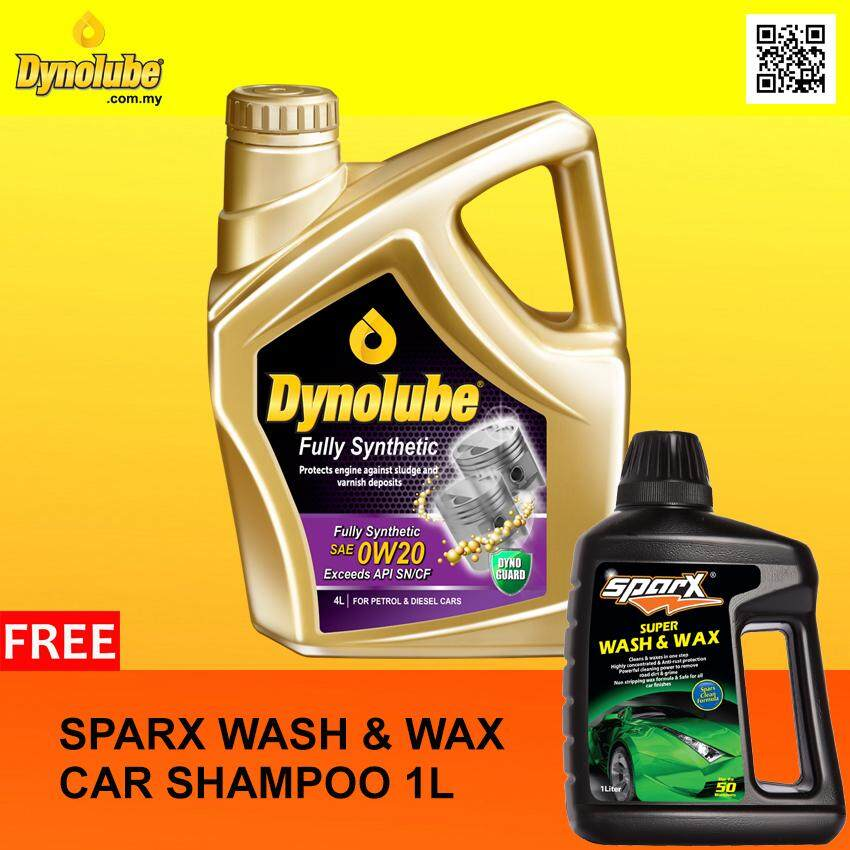 Dynolube 0W20 SN/CF Fully Synthetic 4Liter Engine Oil FREE Sparx Car Shampoo X 1 [Limited-time Offer]