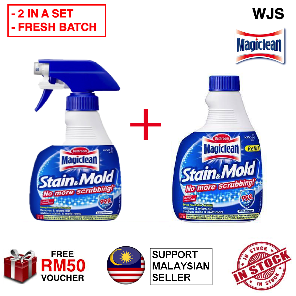 (FRESH BATCH) WJS Kao Magiclean Stain & Mold Trigger Spray 400ml + 400 ml Refill Bathroom Cleaner Toilet Dirt Remover Value Pack 800ML [FREE RM 50 VOUCHER]