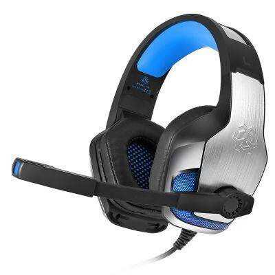 Hunterspider V - 4 3.5mm Headsets Bass Gaming Headphones with Mic LED Light for Mobile Phone PC Xbox PC Laptop (BLUE)