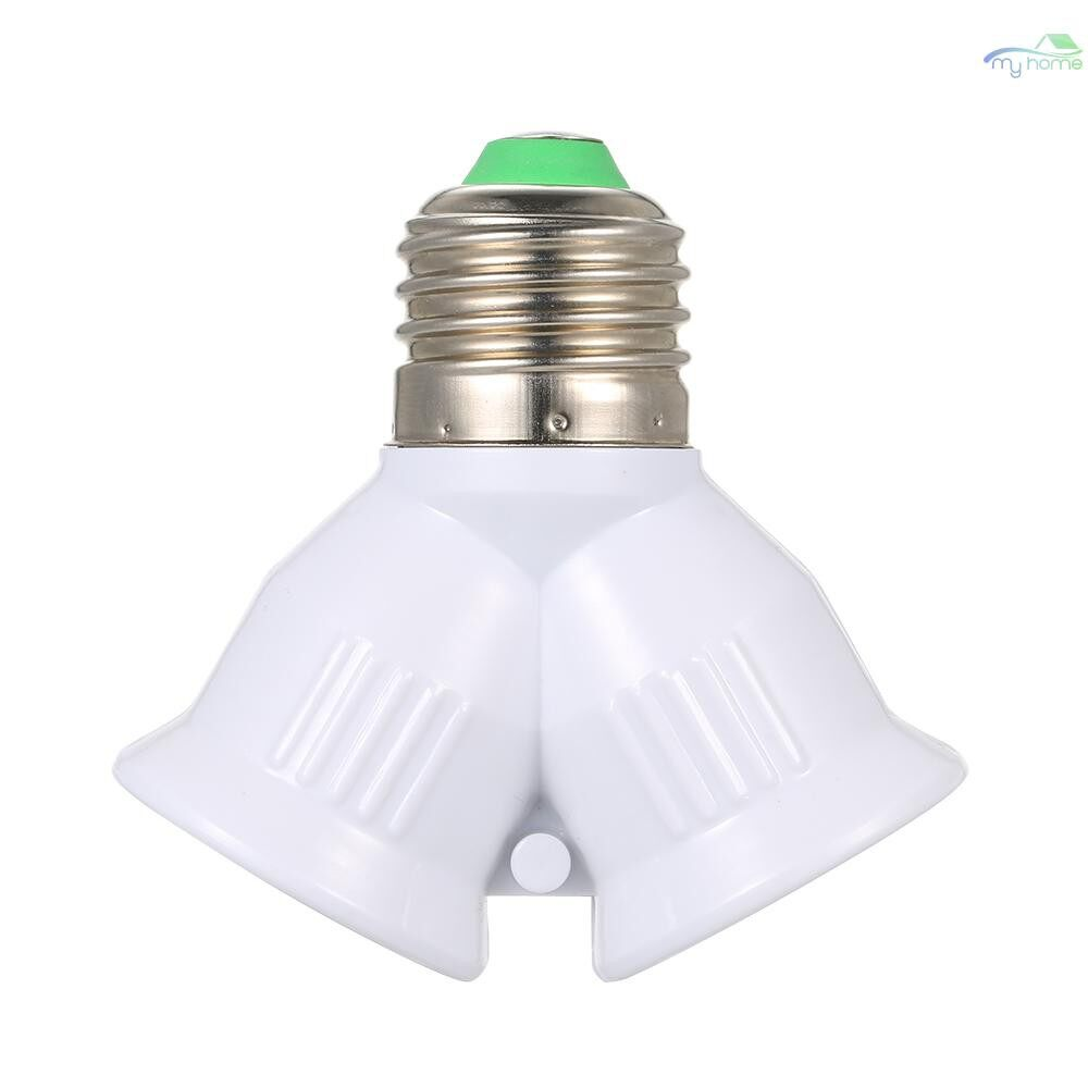 Lighting - E27 Male to 2 Female Y Shape LED Light Bulb Base Adapter Splitter Lamp Holder Socket - WHITE
