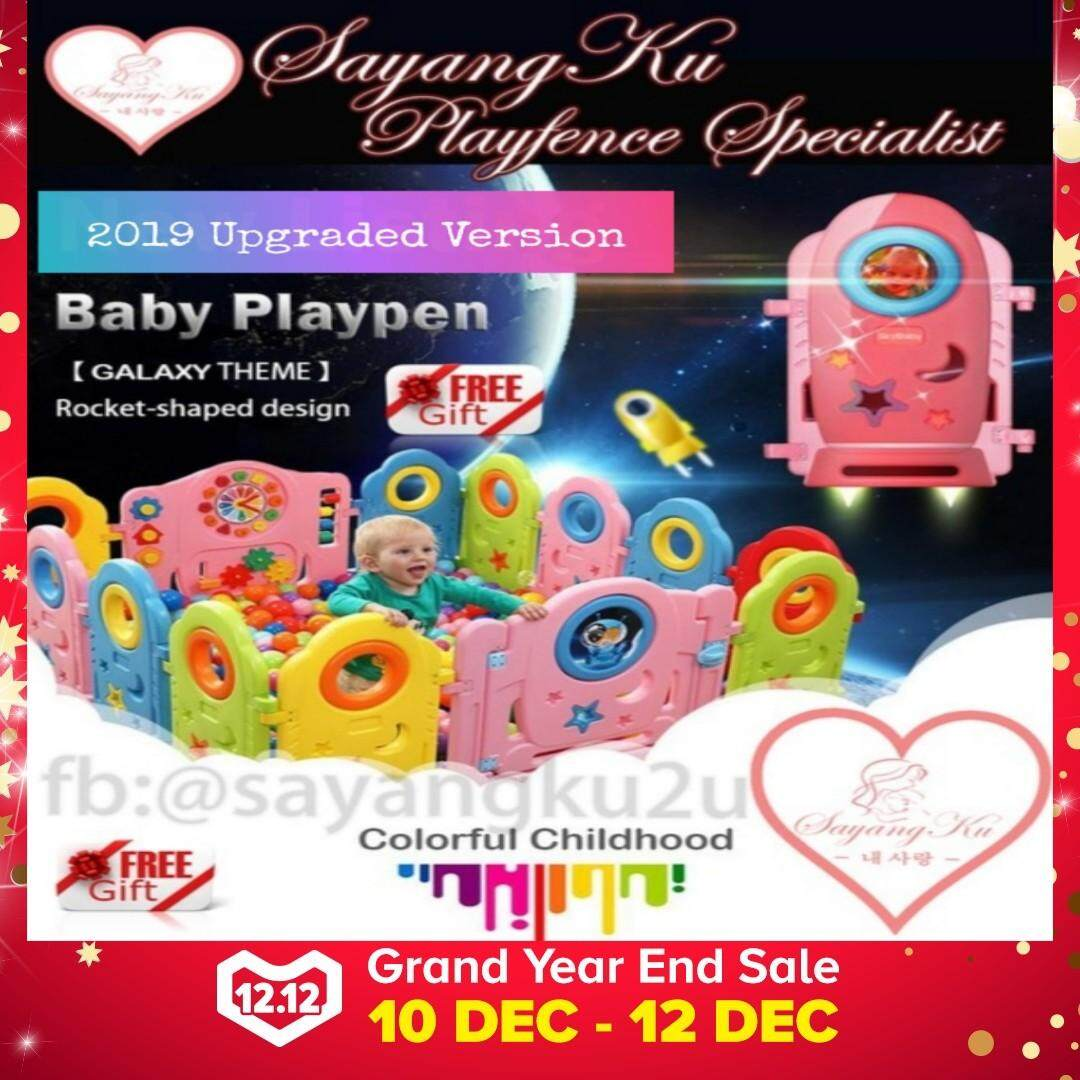 Sale Premium Galaxy Theme (14+2) {Free 50 Balls !!!} SayangKu 16pcs Baby/Kids Safety Play Fence Playpen Home PlayYard Gate