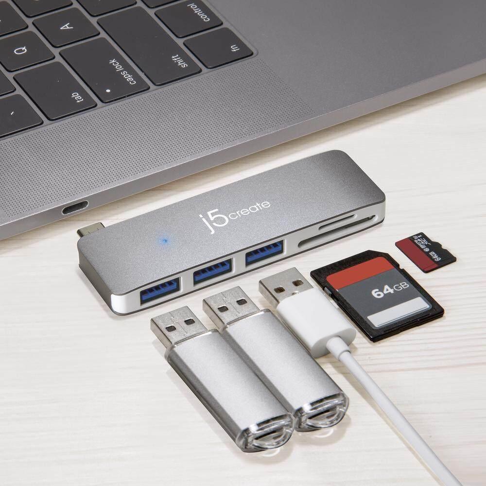 J5 Create JCD348 Type-C To 3-Port USB 3.0 With Card Reader USB Hub