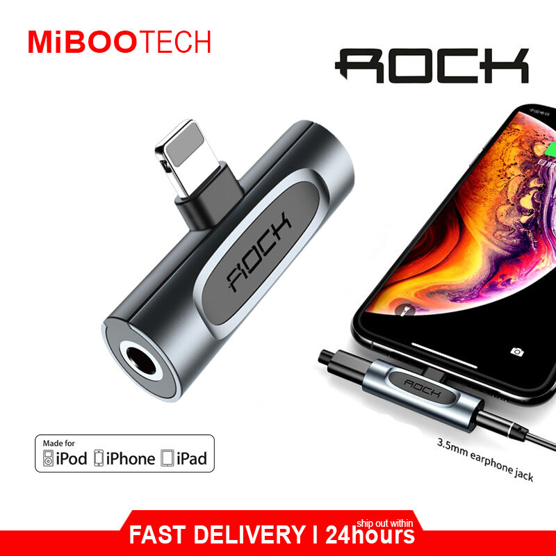 [Miboo] ROCK 2 in 1 Audio Adapter Version A&B Dual USB for Apple and 3.5mm Earphone Jack Aux Charging for Iphone XS/Max/XR - Lightning - 3.5mm aux