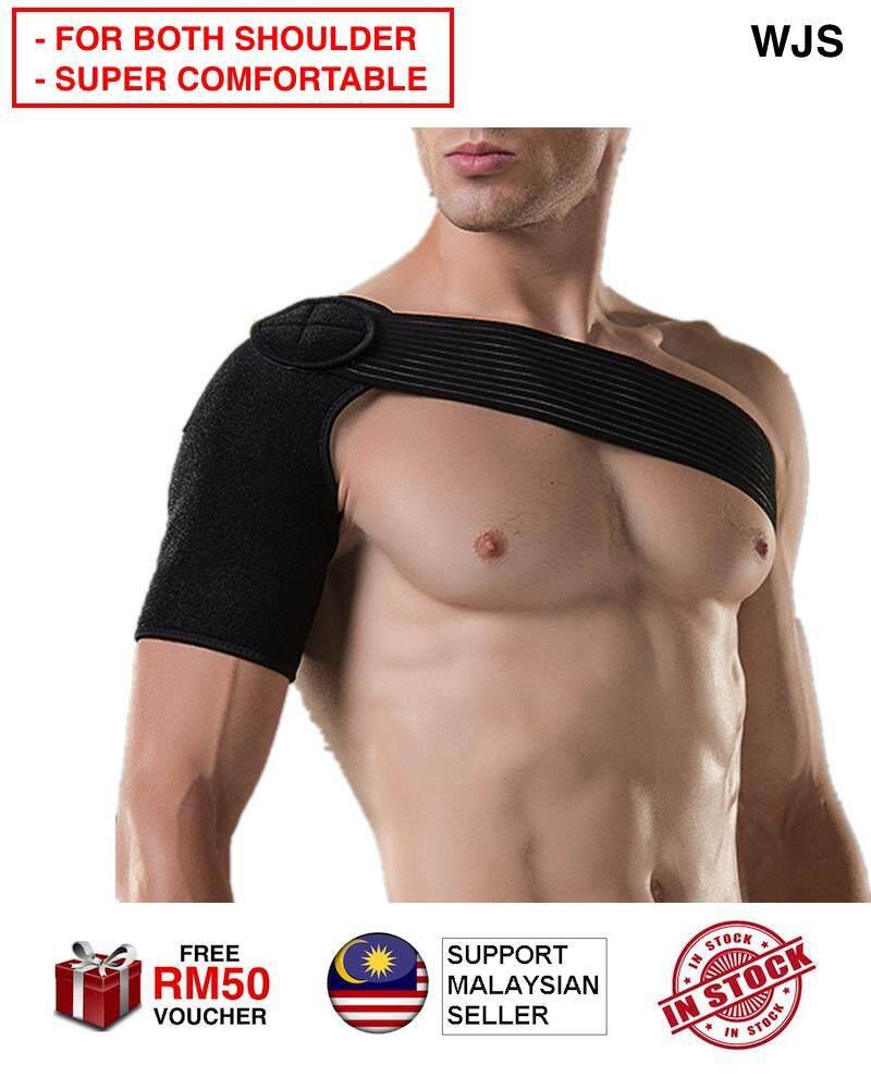 (SUPPORT BOTH LEFT & RIGHT SHOULDER) WJS Gym Sports Care Single Shoulder Support Brace Left Shoulder Wrap Right Shoulder Guard Strap Wrap Belt Band Pads Bandage Men Women Shoulder Support FULL BLACK [FREE RM 50 VOUCHER]