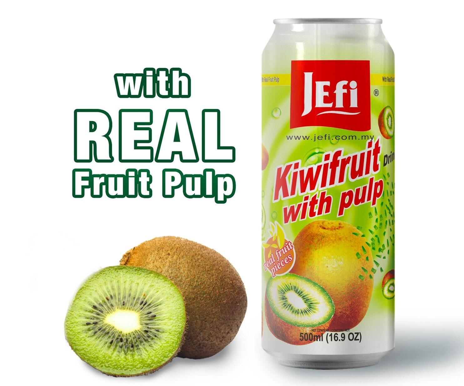 JEFI Kiwifruit Drinks with Real Fruit Pulp (500ml x 1tin)