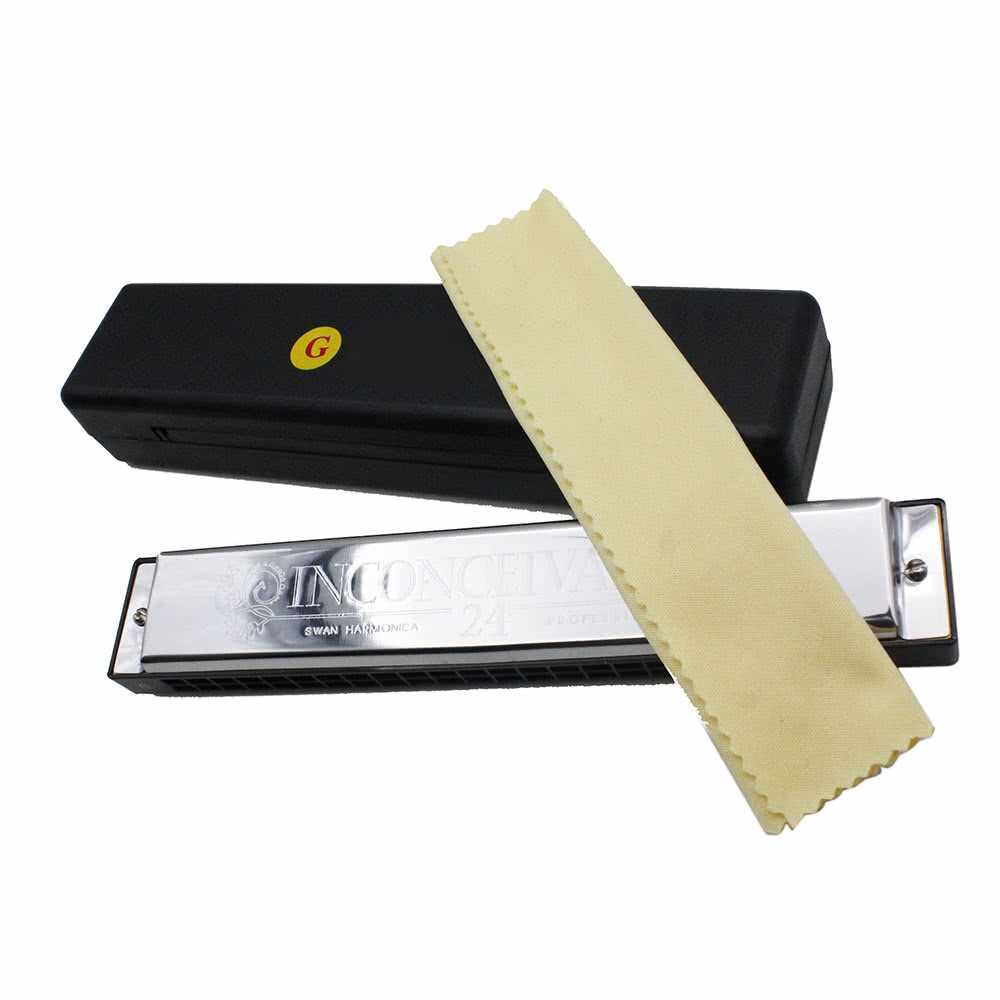 Best Selling Swan Tremolo Harmonica Mouth Organ Key of G 24 Double Holes with 48 Reeds Free Reed Wind Instrument with Case Cleaning Cloth (Standard)