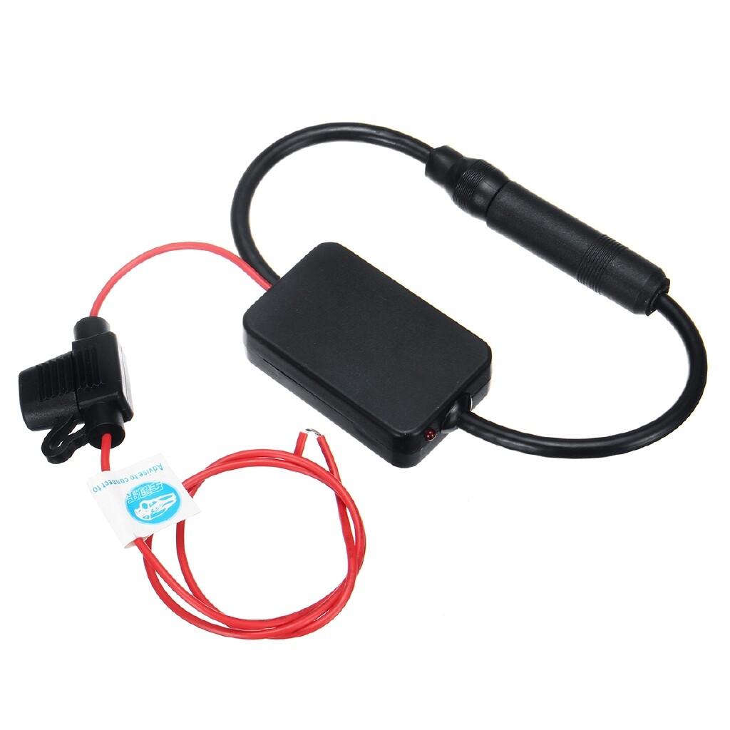 Car Radios - 12V Universal Car Radio FM Antenna Signal Amplifier Booster w/Clip Black - Electronics