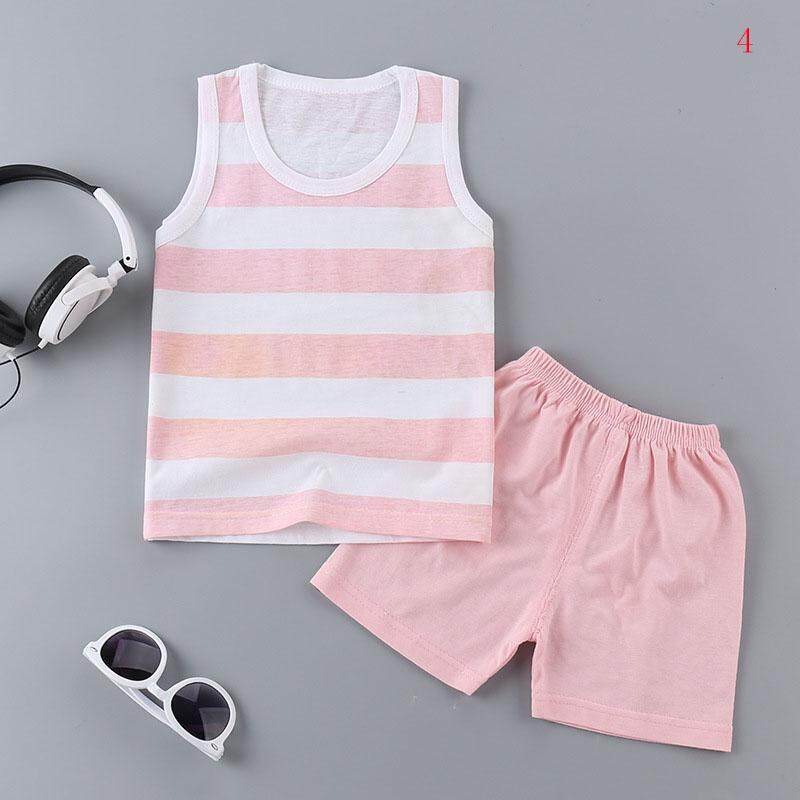 Baby Girls Boys Soft Cotton Clothes Set Cartoon Printing Vest & Shorts Set