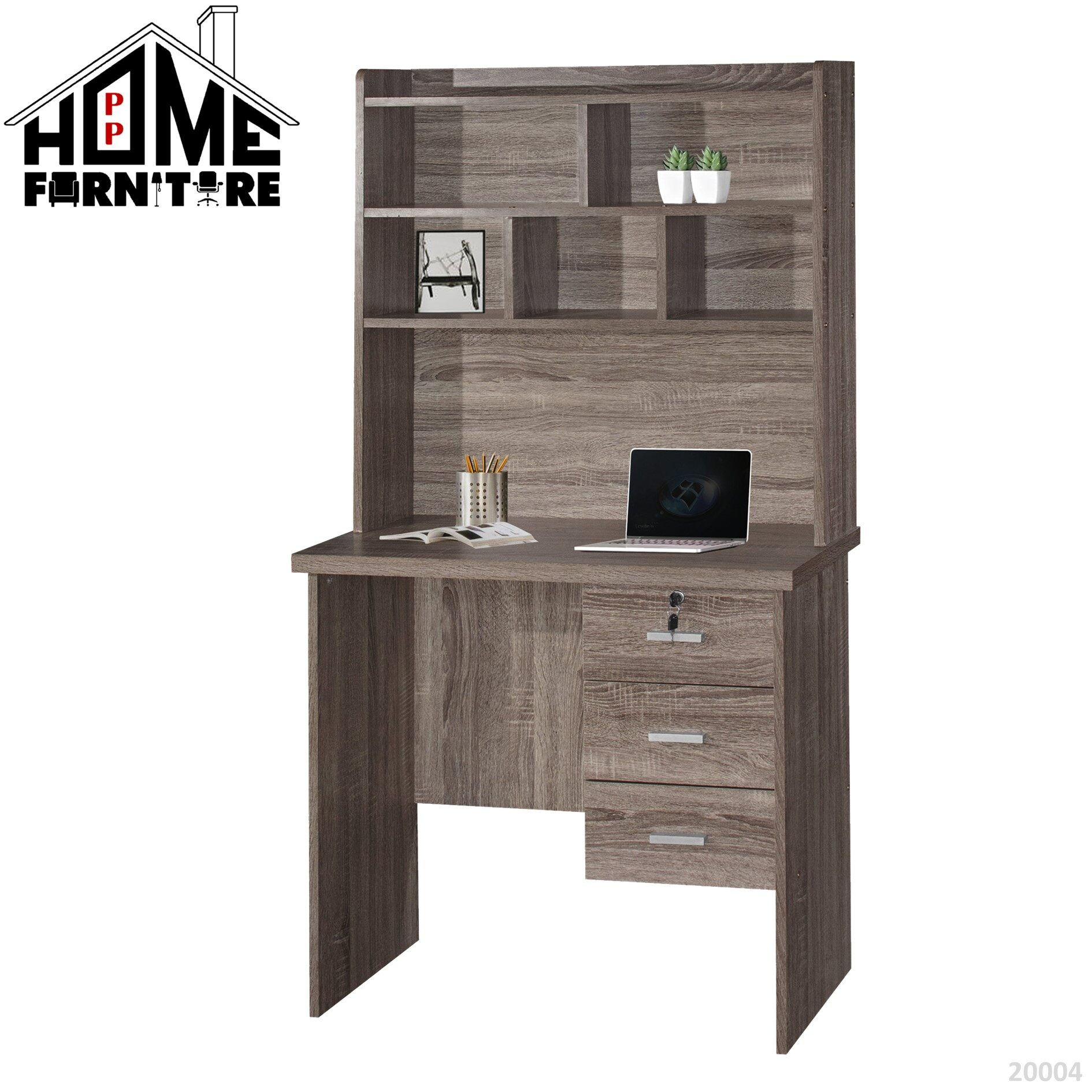 PP HOME Study Table with shelf & locker drawer/Writing table/Working table /PC table/ Student table/Home office table/Multipurpose table/Desk/Computer table/Destop/laptop/Meja belajar/Meja tulis/Meja kerja/komputer电脑桌/书桌/工作桌/读书桌/办公桌20004