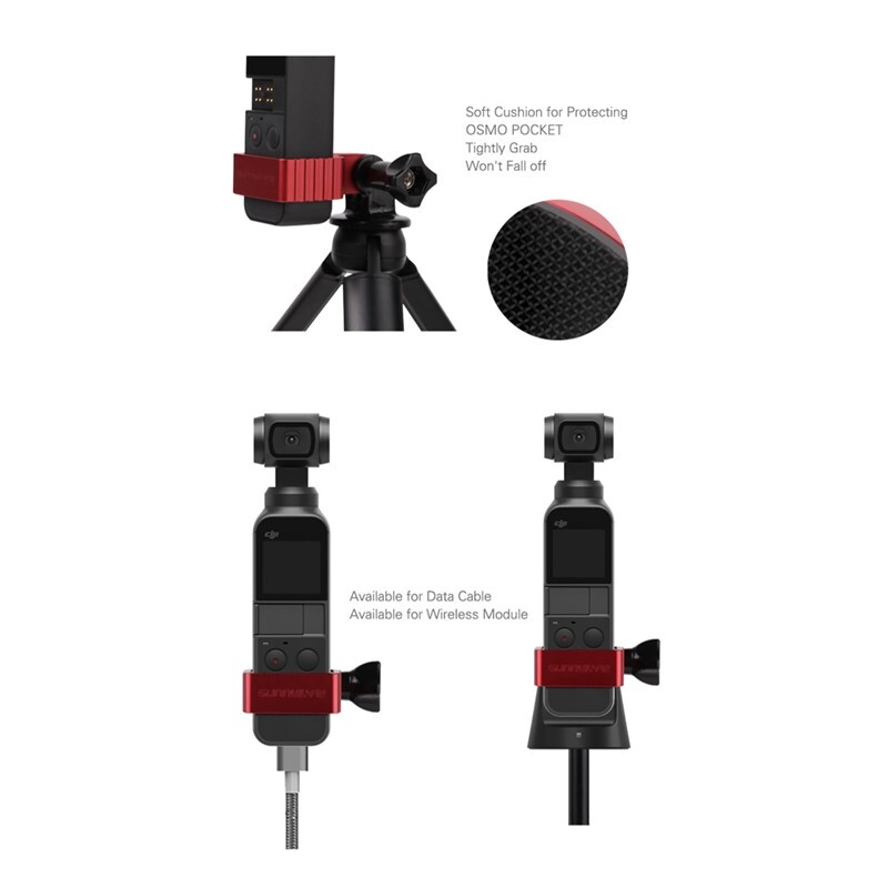 Sunnylife 1/4 Adapter Metal Expanding Fixed Holder For DJI Osmo Pocket Camera - RED / BLACK