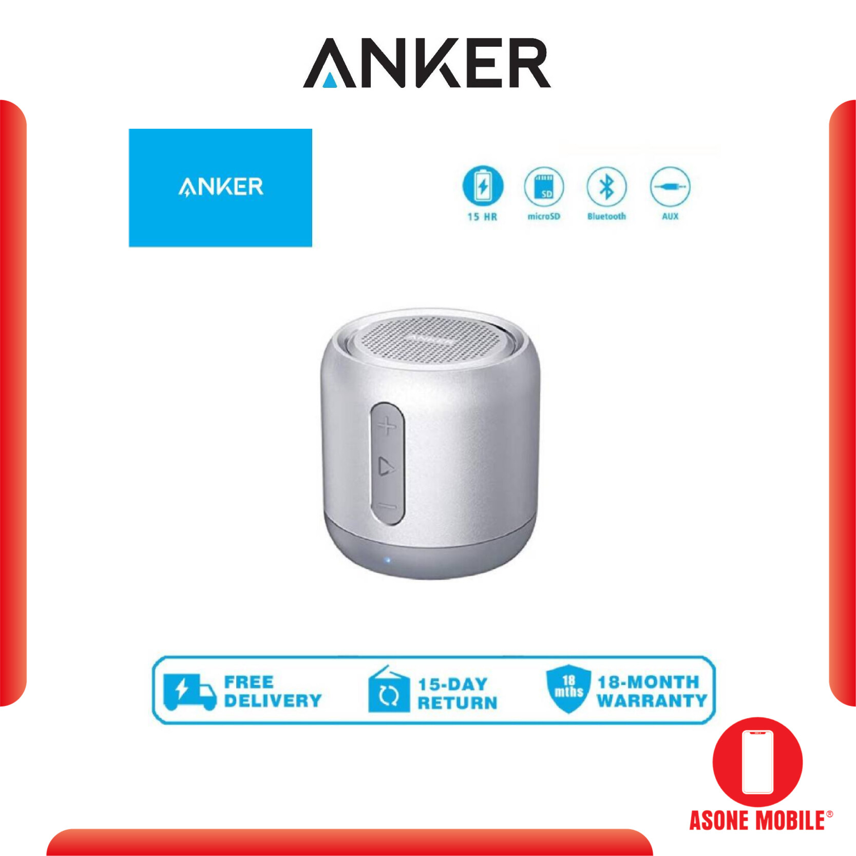 Anker A3101 SoundCore Mini 5W Bluetooth 4.0 Wireless Speaker with 15-Hour Playtime, Enhanced Bass, Noise-Cancelling