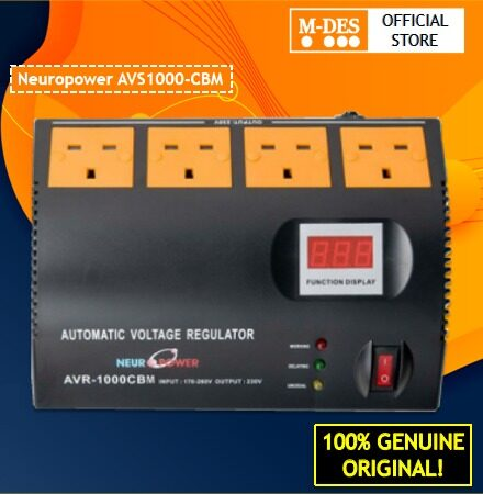 Neuropower AVS1000-CBM 1000CBM 1000VA Automatic Voltage Stabilizer With 4 British UK Outlets With Surge Protection
