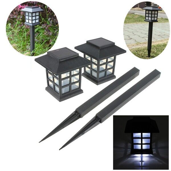 Outdoor Lighting - 2 PIECE(s) Outdoor Oriental Solar LED Lawn yard Path Garden Light Landscape Stake Lamp - WHITE / MULTICOLOR