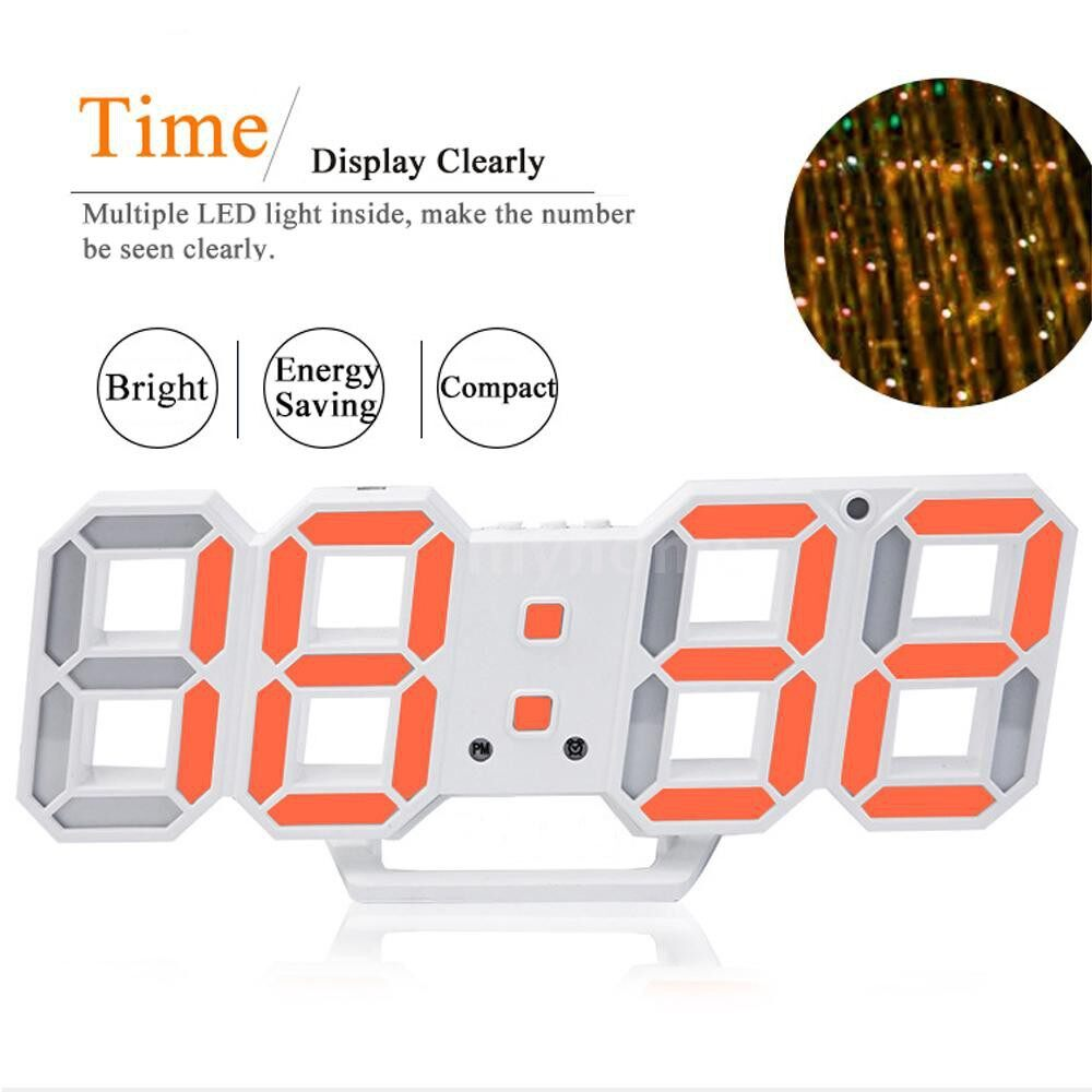 Lighting - Practical Digital LED Clock Alarm Table Desk Night Wall Watch 24/12 Hour Display Automatically - PINK / ORANGE / BLUE / WHITE