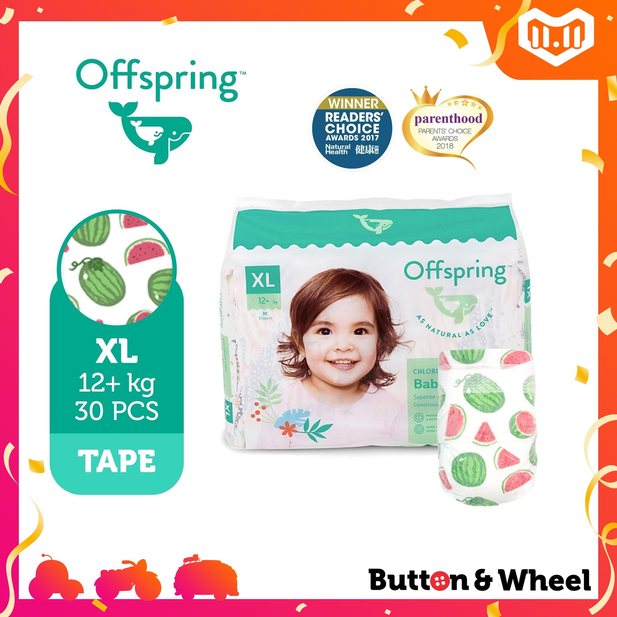 Offspring FASHION DIAPERS XL-30 pcs:OI-FT-XL-Giraffe