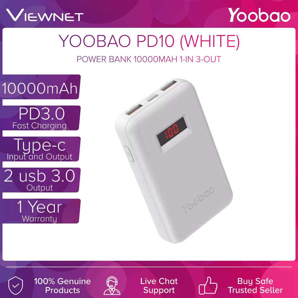 Yoobao Power Bank PD10 10000MAH PD3.0, Type-C, 2-Out, Fast Charge 18W