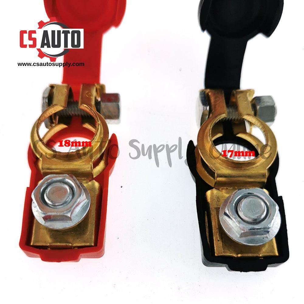 2pcs x Battery Terminal Clamp Clip Real Copper Brass Red Black Rubber Car Vehicle Lorry Truck 17mm 18mm Positive Negative Universal