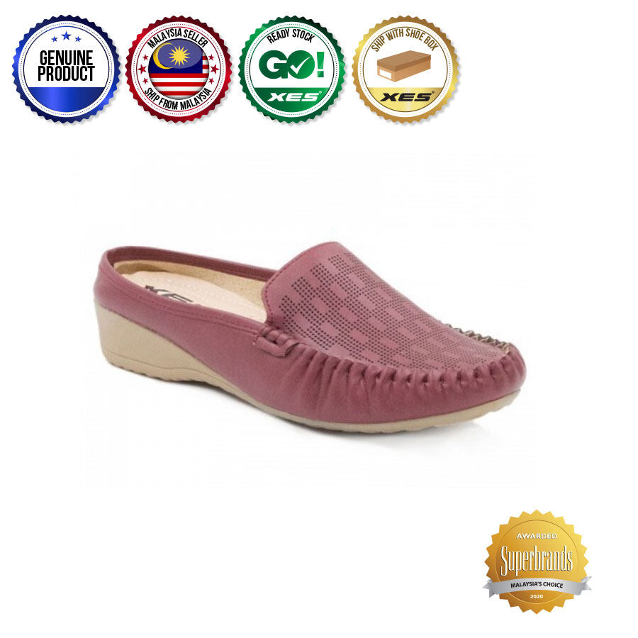 XES Ladies LC033-02 Boxed Flats (Black, Maroon)