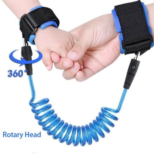 360 Degree Anti Lost Wrist Link Toddler Leash Safety Harness for Baby (2M) (Blue)