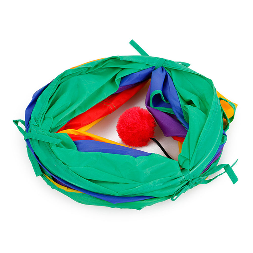 Rainbow-colour Splicing Folding Cat Tunnel with Ball Pet Toy Nest