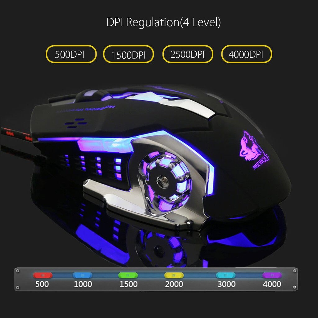Gaming Computer Mouse - 4000DPI 6 Button LED Optical Ergonomic Pro Gaming Mouse Mice Macro Programma - WHITE / BLACK