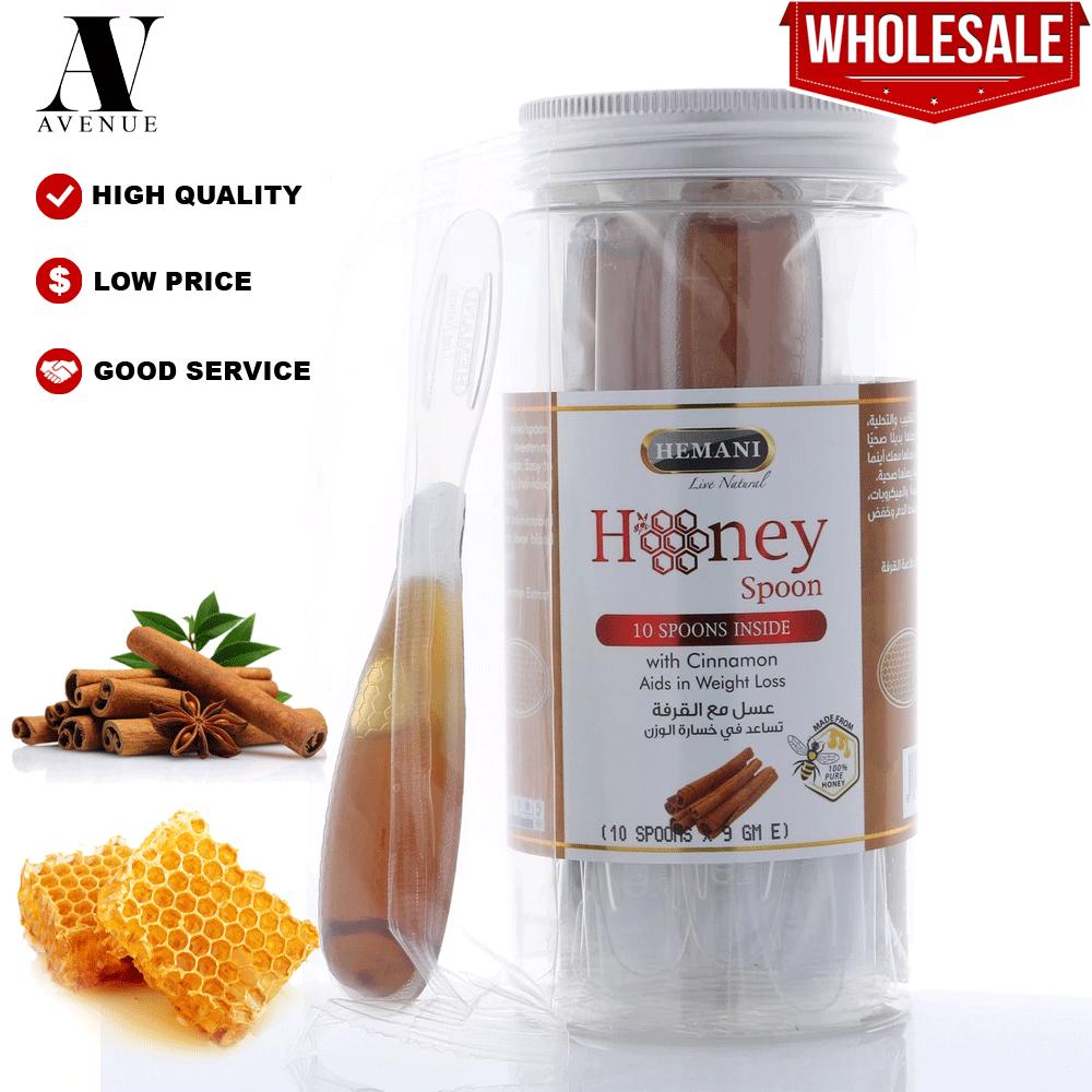 Hemani Honey Spoon with Cinnamon 10 x 9g per Jar Aids in Weight Loss - Sudu Madu dengan Kayu Manis -  عسل مع القرفة