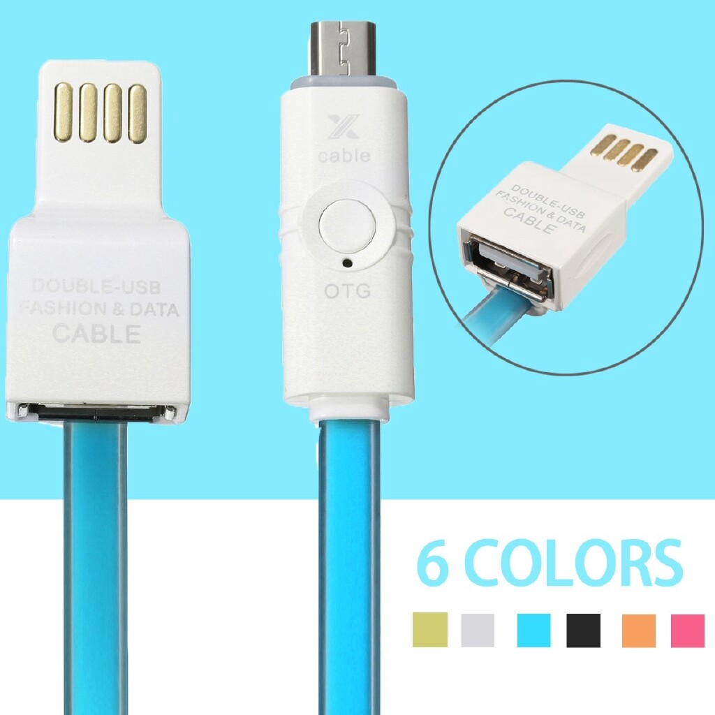 Mobile Cable & Chargers - USB Male to Micro USB Male with USB OTG Adapter Converter Charging Charge Cable - ORANGE / ROSE RED / WHITE / BLUE / BLACK / GREEN