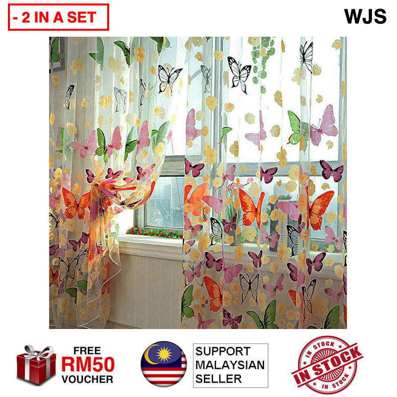 (LATEST FASHION) 2pcs 2 pcs Floral Butterfly Curtain Butterflies Sheer Transparent Curtains Sheers Voile Tulle Window Curtain Fashionable Curtain Langsir Tingkap [FREE RM 50 VOUCHER]