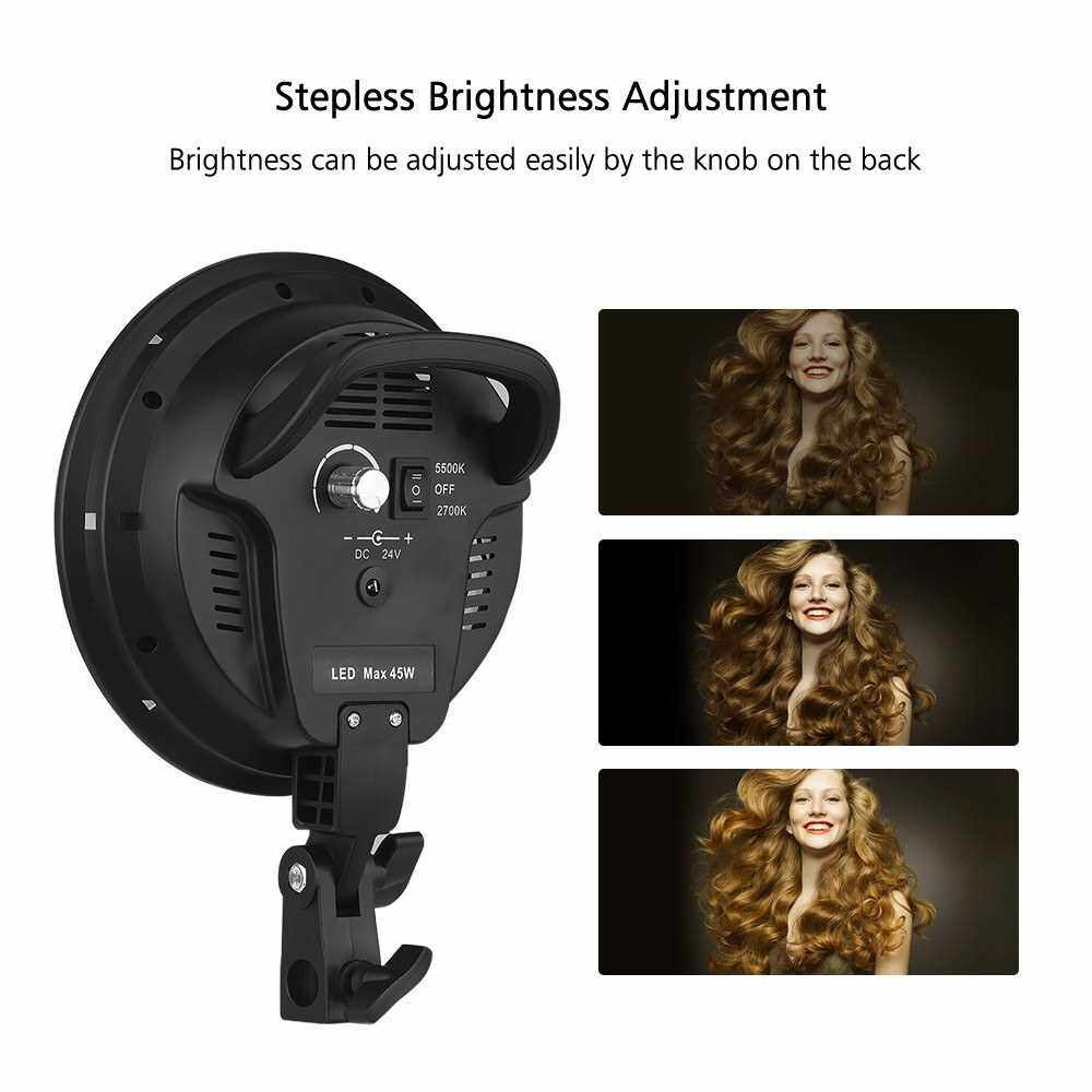 Andoer Studio Photography Softbox LED Light Kit Including 20*28 Inches Softboxes 45W Bi-color Temperature 2700K/5500K Dimmable LED Lights 2 Meters Light Stands Carry Bag (Uk)