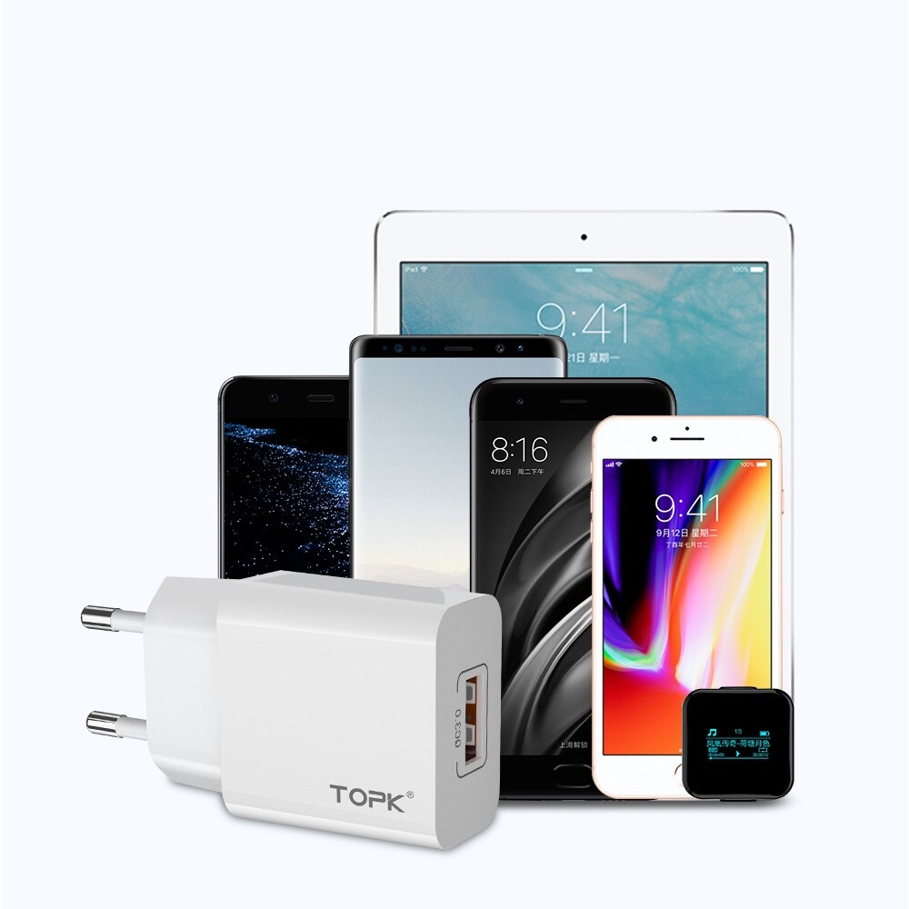 Chargers - TOPK 18W QC3.0 Fast Charging USB Charger Adapter For iPh 11 Pro Huawei P30 Pro Mate 30 Xiaomi - WHITE / BLACK