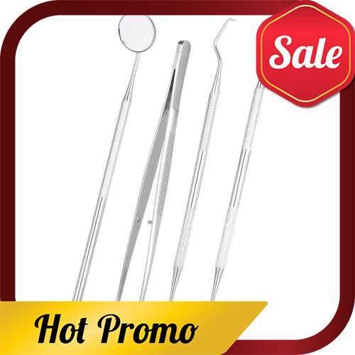 4pcs/pack Dental Hygiene Tools Kit Dentist Set Dental Probe Mirror Sickle Scalers Tweezers Stainless Steel Teeth Care Cleaning