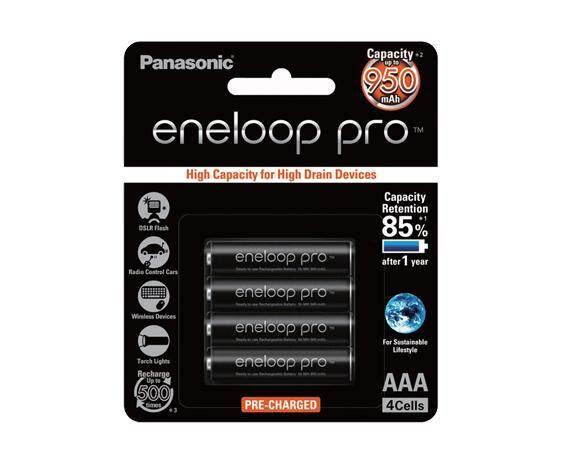 Panasonic Eneloop Pro Quick Charger And Eneloop Pro AAA Battery 4 Pcs(BUNDLE) Free Earphone M1