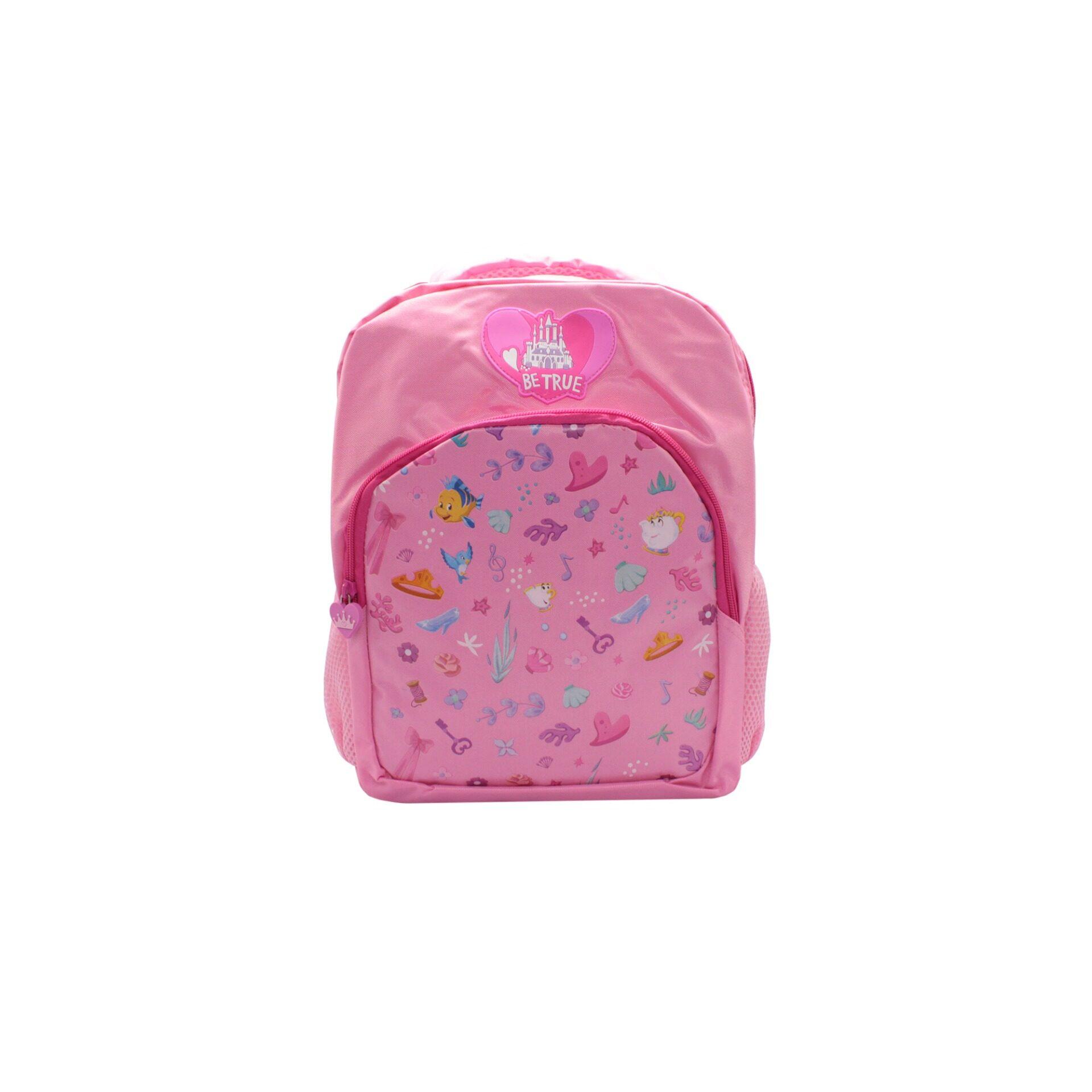 Disney Princess Be True Castle With Front Zipper Pouch Kid\'s Girls Pre School Bag (Pink)