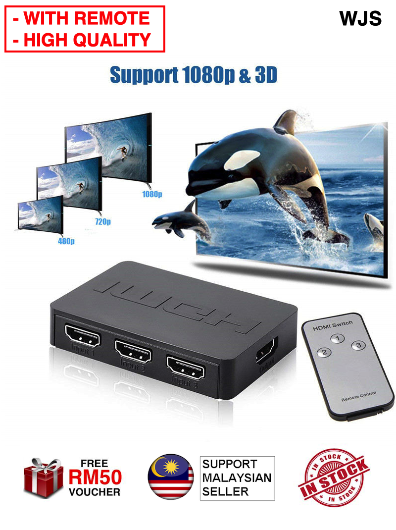 (WITH REMOTE) WJS Enhanced Quality 3in1 Port HDMI Switch HDMI Switcher 1080p 3D Wireless Remote TV Boxes & Players - 3 Ports HDMI Splitter HDMI Hub Switch Selector Switcher Splitter Hub 3in1 BLACK [FREE RM 50 VOUCHER]