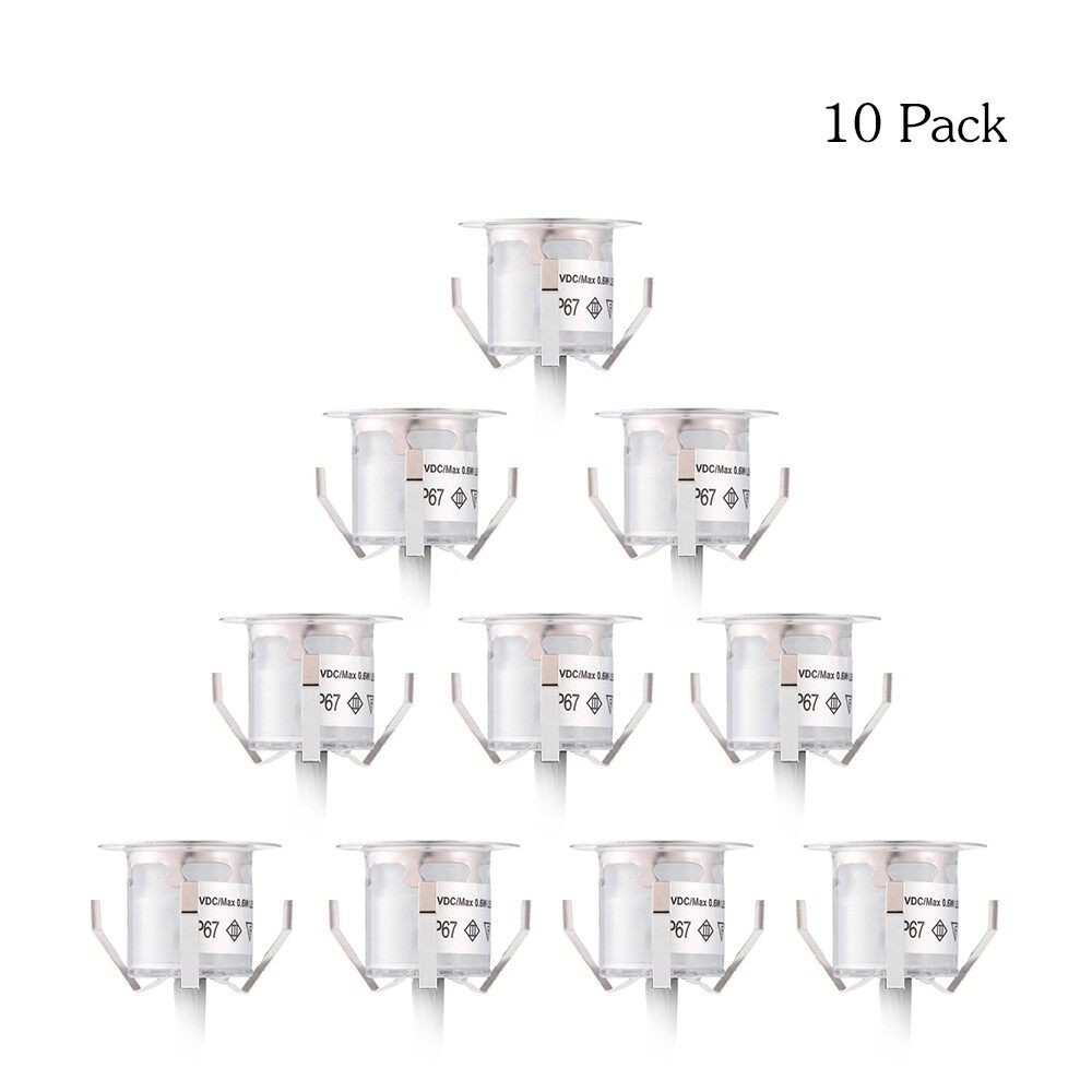 Lighting - 10 PIECE(s) 32mm LED Deck Lights 0.6W 500LM SMD2835 Small Recessed In-ground Undergr - WHITE