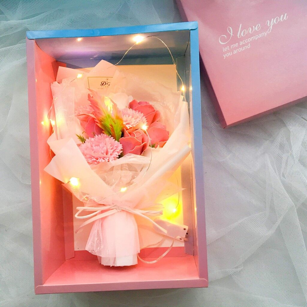 Mother's Day Special Soap Carnation Flower Bouquet+Gift Box+LED